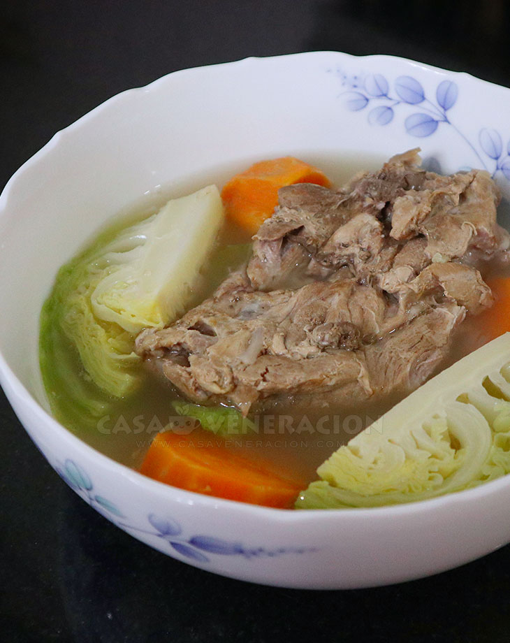 Boiled Pork ribs with cabbage and sweet potato soup