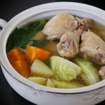 Boiled chicken with white cabbage, Chinese cabbage, potatoes and sweet potatoes