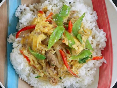 Chicken, eggs, snow peas and belle pepper over rice