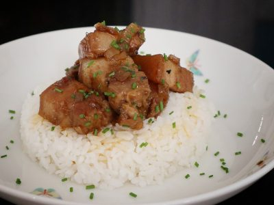Binagoongang Baboy (Pork Braised in Shrimp Paste) Served with Rice