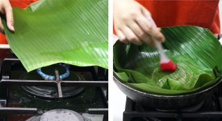 Lining a cast iron pan with wilted banana leaves for making Filipino bibongka (Christmas rice cake)