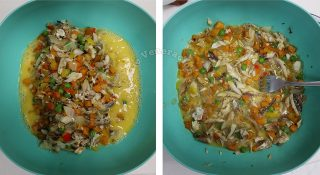 Tortang isda (fish torta) recipe, step 3: Stir the fish and vegetables into beaten eggs
