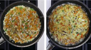 Tortang isda (fish torta) recipe, step 4: Pour the egg, fish and vegetable mixture into a lightly oiled frying pan and cook until firm