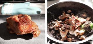 Dinardaraan (Ilocano dinuguan) recipe, step 3: chop the bagnet and stir into the pork blood stew