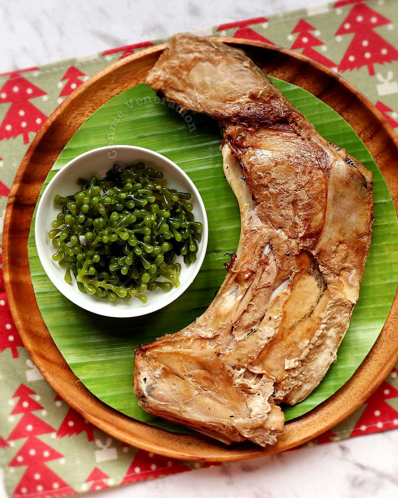 Grilled tuna collar with sea grapes on the side