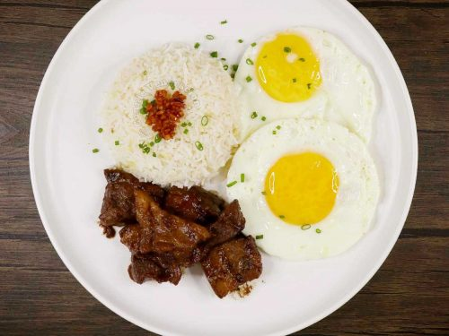 Adosilog (Adobo, Garlic Fried Rice and Egg)