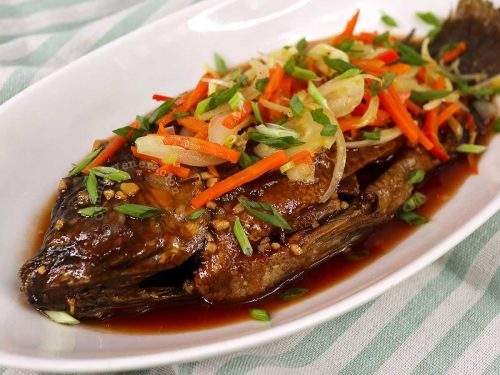 Tilapia escabeche (Filipino sweet sour fish)