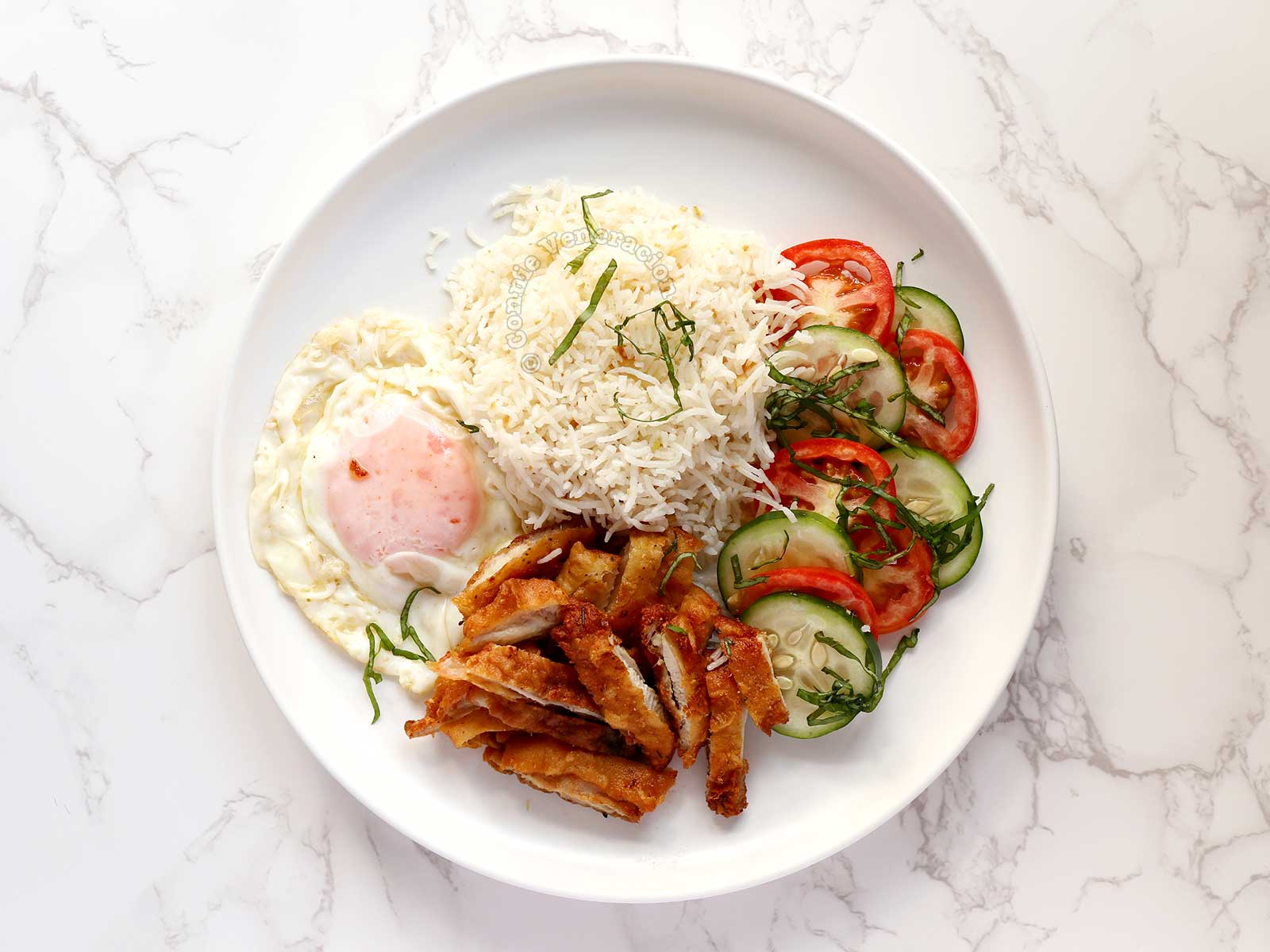 Chiksilog (Fried Chicken, Fried Rice and Egg)