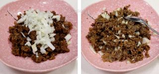 Tossing chopped raw onion with cooked beef tapa