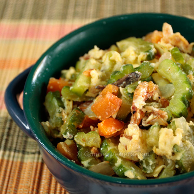 Sauteed ampalaya (bitter gourd / melon) with dried shrimps and eggs | casaveneracion.com