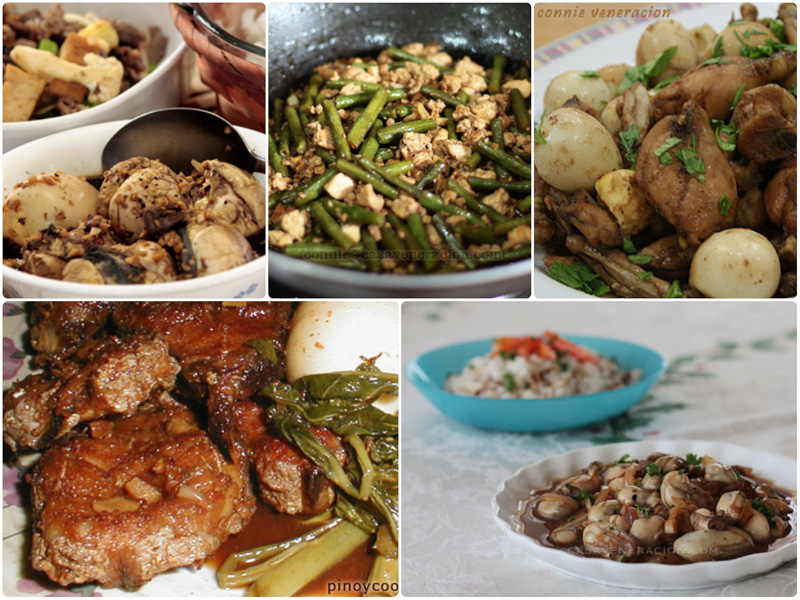 Variations of Filipino adobo with pork, chicken, seafood, vegetables and eggs