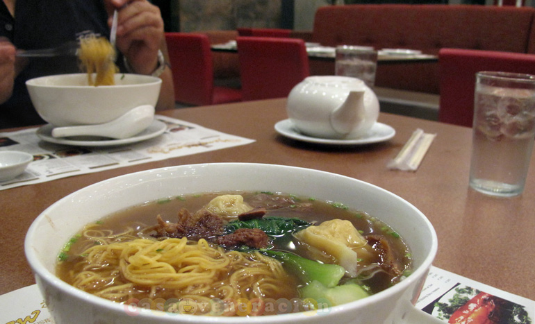 Beef and wonton noodle soup at Yang Chow Dimsum Teahouse